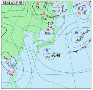 8月22日(火)15時の実況天気図