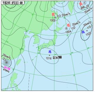 8月23日(水)6時の実況天気図