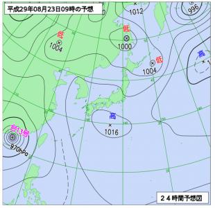 8月23日(水)9時の予想天気図