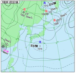 8月23日(水)15時の実況天気図
