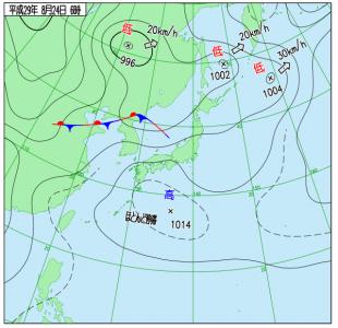 8月24日(木)6時の実況天気図