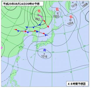 8月24日(木)9時の予想天気図