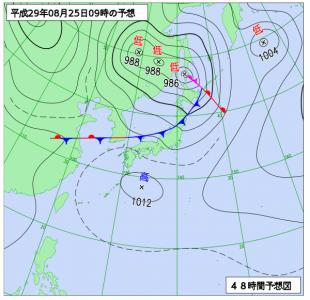 8月25日(金)9時の予想天気図