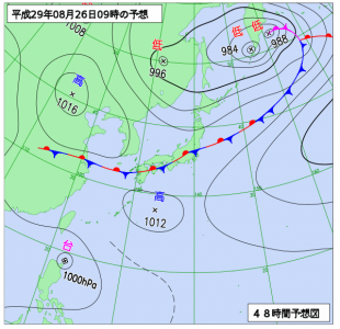 8月26日(土)9時の予想天気図
