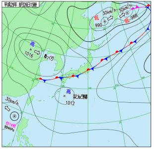 8月26日(土)15時の実況天気図