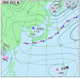 8月27日(日)6時の実況天気図
