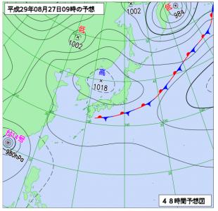 8月27日(日)9時の予想天気図
