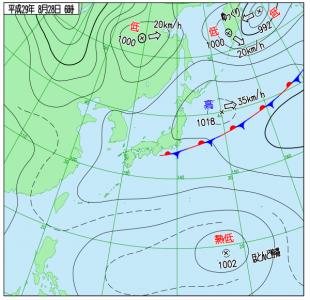 8月28日(月)6時の実況天気図