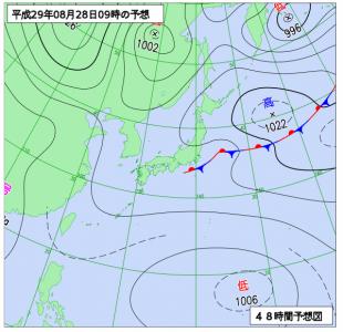 8月28日(月)9時の予想天気図