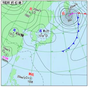 9月4日(月)6時の実況天気図