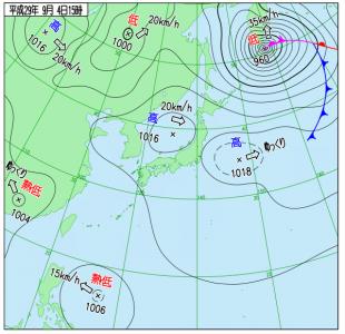 8月4日(月)15時の実況天気図