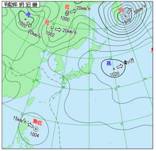 9月5日(火)6時の実況天気図