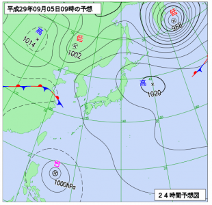 9月5日(火)9時の予想天気図
