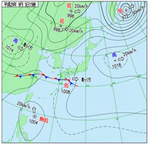 9月5日(火)15時の実況天気図
