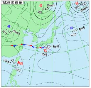 9月6日(水)6時の実況天気図