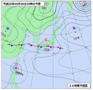 9月6日(水)9時の予想天気図