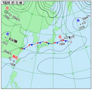9月7日(木)6時の実況天気図