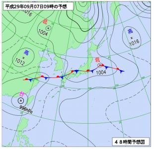 9月7日(木)9時の予想天気図