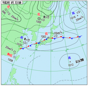 9月7日(木)15時の実況天気図