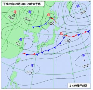 9月8日(金)9時の予想天気図