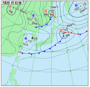 9月8日(金)15時の実況天気図
