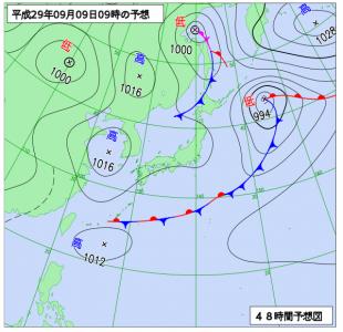 9月9日(土)9時の予想天気図
