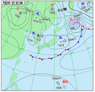 9月9日(土)15時の実況天気図