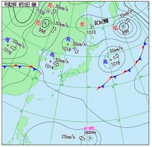 9月10日(日)6時の実況天気図