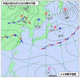 9月10日(日)9時の予想天気図