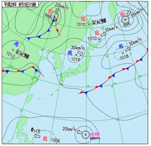 9月10日(日)15時の実況天気図