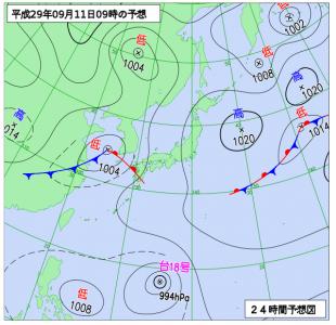 9月11日(月)9時の予想天気図