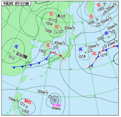 9月11日(月)15時の実況天気図