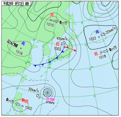 9月12日(火)6時の実況天気図