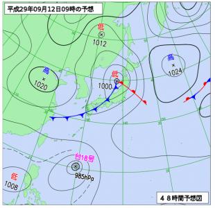 9月12日(火)9時の予想天気図