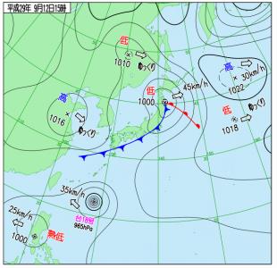 9月12日(火)15時の実況天気図