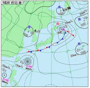 9月13日(水)6時の実況天気図