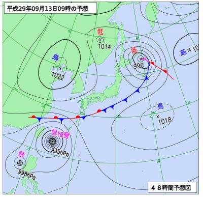 9月13日(水)9時の予想天気図