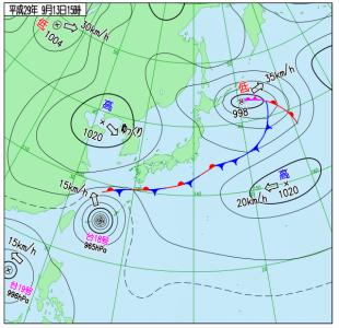 9月13日(水)15時の実況天気図