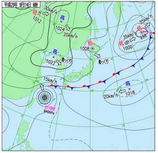 9月14日(木)6時の実況天気図