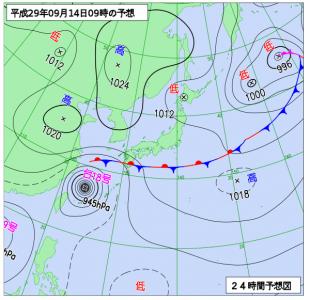 9月14日(木)9時の予想天気図