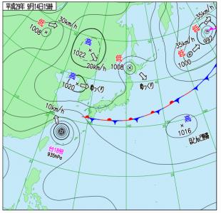 9月14日(木)15時の実況天気図