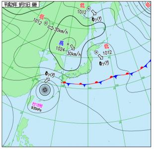 9月15日(金)6時の実況天気図