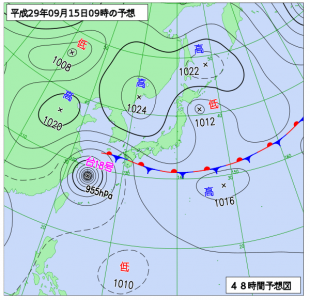 9月15日(金)9時の予想天気図