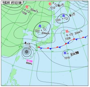 9月15日(金)15時の実況天気図