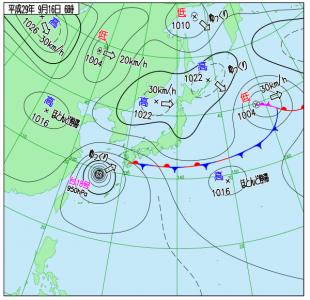 9月16日(土)6時の実況天気図