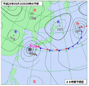 9月16日(土)9時の予想天気図
