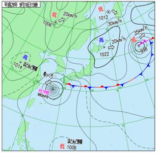 9月16日(土)15時の実況天気図