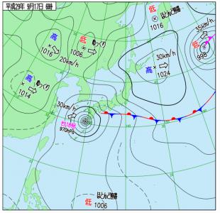 9月17日(日)6時の実況天気図