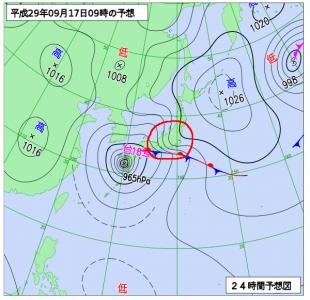 9月17日(日)9時の予想天気図