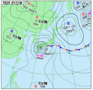 9月17日(日)15時の実況天気図
